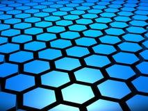 blauer Hintergrund des Hexagon-3D Lizenzfreies Stockbild