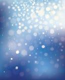 Blauer Hintergrund des Vektors mit Lichtern und Sternen. Lizenzfreies Stockfoto
