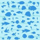Blauer Hintergrund des Vektors mit Meeresfischen Stockfotografie