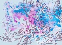 Blauer Hintergrund des Winters mit Mustern und Aquarellflecken vektor abbildung