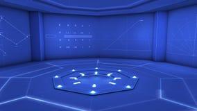 Blauer Hintergrund Digital, digitales blaues Studio stock video