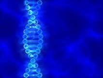 Blauer Hintergrund DNA (Desoxyribonukleinsäure) mit Wellen Stockbild