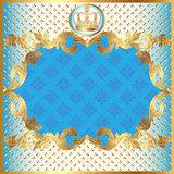 Blauer Hintergrund für Einladungsgoldmuster Stockfotografie