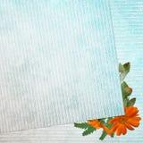 Blauer Hintergrund mit Blumen Stock Abbildung