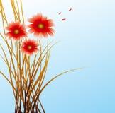 Blauer Hintergrund mit Blumen Lizenzfreie Stockfotos