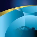 Blauer Hintergrund mit Brücke Stockfotografie