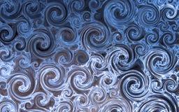 Blauer Hintergrund mit drehenden Formen Stockfotografie
