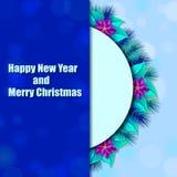 Blauer Hintergrund mit Florenelementpoinsettiablumen- und -weihnachtsbaum Lizenzfreie Stockfotos
