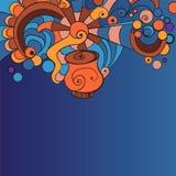 Blauer Hintergrund mit Gekritzeln Stockbilder
