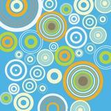 Blauer Hintergrund mit Kreisen Retro- Weinleseknallart Auch im corel abgehobenen Betrag Lizenzfreies Stockbild
