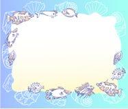 Blauer Hintergrund mit mit Fischen und Cockleshell stock abbildung