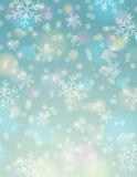 Blauer Hintergrund mit Schneeflocke und bokeh, Vektor lizenzfreie abbildung