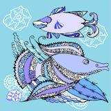 Blauer Hintergrund mit zwei Fischen stock abbildung