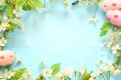 Blauer Hintergrund Ostern, mit Eiern entspringen Konzept ostern stockbilder