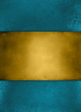 Blauer Hintergrund und Gold der abstrakten Weinlese streiften Mitte Lizenzfreie Stockfotografie