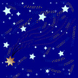 Blauer Hintergrund und helle bunte Sterne und Starfall Lizenzfreies Stockfoto