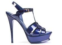 Blauer hoher Schuh stockbild