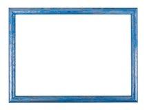 Blauer Holzrahmen auf dem weißen Hintergrund mit Beschneidungspfad Stockbilder