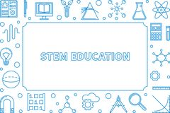Blauer horizontaler Rahmen des STAMMES Vektorwissenschafts-Entwurfsillustration lizenzfreie abbildung