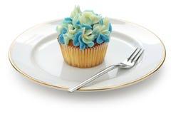 Blauer Hortensiakleiner kuchen Stockfoto