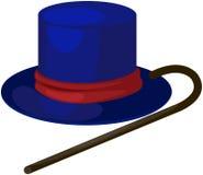 Blauer Hut mit Stock Stockfoto