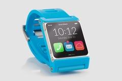 Blauer intelligenter Uhrabschluß oben Stockfotos
