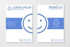 Blauer jährlicher Entwurfsberichtsgeschäftsbroschürenfliegerdesign-Schablonenvektor mit emoji oder Lächeln Lizenzfreies Stockbild
