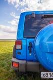 Blauer Jeep Wrangler Rubicon Unlimited im wilden Tulpenfeld nahe Salzwasserreservoirsee Manych-Gudilo Lizenzfreie Stockfotos