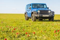 Blauer Jeep Wrangler Rubicon Unlimited im wilden Tulpenfeld nahe Salzwasserreservoirsee Manych-Gudilo Lizenzfreie Stockbilder