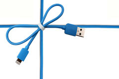 Blauer Kabel USB-Bogen Stockbild