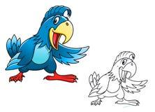 Blauer Karikaturpapagei Lizenzfreies Stockfoto