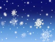 Blauer Kartenhintergrund des Weihnachtsschnees Stockbild