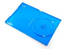 Blauer Kasten einer DVD Platte getrennt auf Weiß Stockfotos