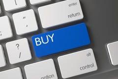 Blauer Kauf-Schlüssel auf Tastatur 3d Stockfoto