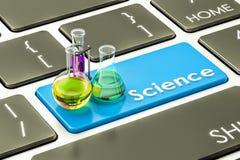 Blauer Knopf der Wissenschaft, Schlüssel auf der Computertastatur Wiedergabe 3d Stockfotos