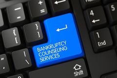 Blauer Konkurs, der Service-Schlüssel auf Tastatur berät 3d Lizenzfreies Stockfoto