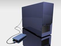 Blauer Kontrollturm des Computers 3d stock abbildung
