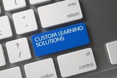Blauer kundenspezifischer Lernenlösungs-Schlüssel auf Tastatur 3d Stockfotos