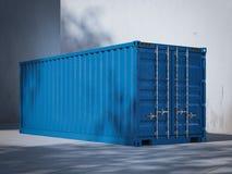 Blauer Ladungbehälter Wiedergabe 3d Stockbilder