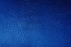 Blauer lederner Beschaffenheitshintergrund Lizenzfreies Stockfoto