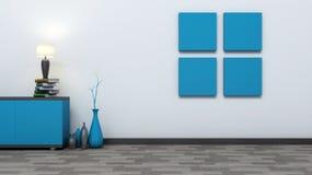 Blauer leerer Innenraum mit Vasen und Lampe Stockfotos