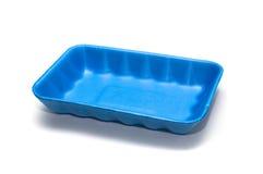 Blauer leerer Nahrungsmittelbehälter auf Weiß Lizenzfreies Stockfoto