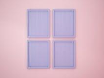 Blauer leerer Rahmen der Ruhe auf Rose Quartz-Farbwand Lizenzfreie Stockfotos