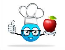 Blauer Leutechef mit Apfel Stockfoto