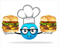 Blauer Leutechef mit Pizzaburger Stockbilder
