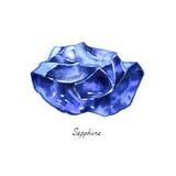 Blauer lokalisiertes Aquarell des Saphirs rauer Edelstein Kristallmineralillustration auf weißem Hintergrund stock abbildung