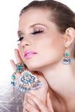 Blauer Luxus und blonde Frau Lizenzfreies Stockfoto