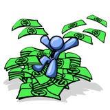 Blauer Mann, der im Bargeld sitzt Lizenzfreie Stockbilder