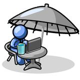 Blauer Mann an der Rücksortierung mit Laptop stock abbildung