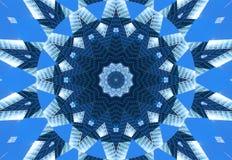 Blauer Marinekaleidoskopmuster-Zusammenfassungshintergrund Punkt, Lautsprecher, industrieller Hintergrund Abstrakter Fractalkalei vektor abbildung
